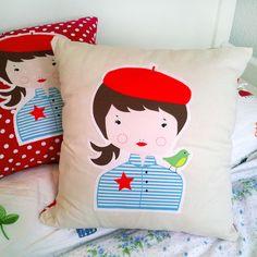 Kissen mit Mädchen // Girl pillow by petitNel via DaWanda.com
