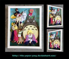 Commission: Studio Ghibli Shadowbox by The-Paper-Pony on DeviantArt