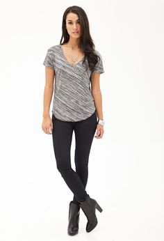 Marled Knit V-Neck Tee #F21Contemporary *i'd have to wear a scarf or jacket to add a pop of color but i love the sleek look