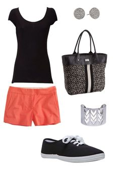 Spring outfit - coral shorts, scoop tee, canvas sneaks #ootd casual