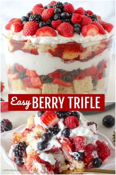 BERRY TRIFLE includes layers of cake, fresh berries, and whipped cream. Take a shortcut with your favorite store bought pound cake or angel food cake. You'll love this simple and beautiful red, white, and blue dessert! Angel Food Cake Trifle, Strawberry Angel Food Cake, Angel Food Cake Desserts, Angle Food Cake Recipes, Cool Whip Desserts, Strawberry Desserts, Best Dessert Recipes, Summer Desserts, Easy Desserts