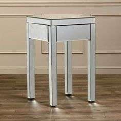 Mirrored Bed Side Table Night Stands For Bedrooms With Drawer Contemporary End…