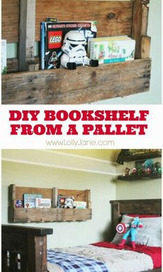DIY Bookshelf from a pallet I was thinking about making this with barnwood.