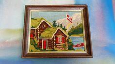 #uniquegift 60s Needlepoint  Norwegian Log Cabin Vintage by DameWhoFrames