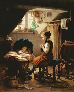 """""""Tending the little ones"""" von Johann Georg Meyer von Bremen (geboren am 28. Oktober 1813 in Bremen, gestorben am 4. Dezember 1886 in Berlin), bedeutsamer Künstler der klassischen deutschen Genremalerei."""