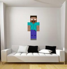 Minecraft Herobrine Fathead-Style Repositionable Graphic Decal Sticker-Gift Idea