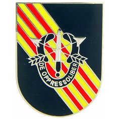 De Opresso Liber' is emblazoned on this Special Forces shield pin, along with the full logo of the United States Army Special Forces. Show your support for our Special Forces by wearing this pin. Grea