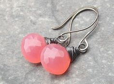 Pink watermelon chalcedony earrings. A pretty pop of color. #pink #jewelry