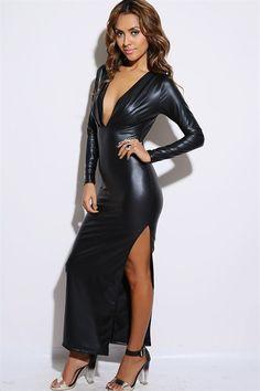 Shop Kami Shade' - Black Faux Leather Long Sleeve Maxi Dress