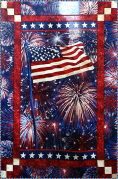 Stonehenge Celebration Magic Kit This patriotic wallhanging will make any room in your house feel festive for the holidays! Kit includes a panel and the fabrics needed for your top and binding, plus flashing multi-colored LED lights and a pattern with easy instructions