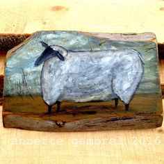 Sheep Primitive Folk Art Landscape Painting Rustic Annette Gambrel Original | eBay