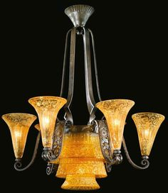Edgar Brandt and Daum SIX-LIGHT CHANDELIER each central glass shade engraved DAUM NANCY FRANCE ca 1925 / SOLD LOT SOLD. 87,500 USD