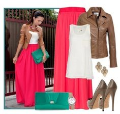 Love this outfit, maxi coral skirt, white top, brown leather jacket