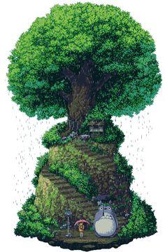 Tonari no Totoro by ~kawaiihannah on deviantART. It made me smile, hopefully it stays an animation on Pinterest.