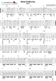 Free guitar lesson with TAB and VIDEO tutorial. Learn to play the chords of Hotel California by Eagles. Guitar Tabs And Chords, Acoustic Guitar Chords, Guitar Strumming, Guitar Chords Beginner, Easy Guitar Songs, Guitar Chords For Songs, Music Chords, Fingerstyle Guitar, Guitar Solo