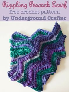 Rippling Peacock Scarf, free crochet pattern by Marie Segares/Underground Crafter