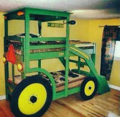 If you'd like to make the kids a Tractor Bed, these John Deere Bunk Bed Plans are just what you need. Check out all the ideas now. Cool Bunk Beds, Kids Bunk Beds, John Deere Bed, Bunk Bed Designs, My New Room, Boy Room, Home Interior Design, Home Projects, Kids Bedroom