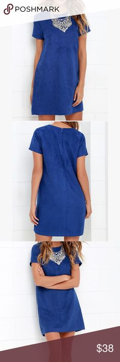 Blue Suede Shift dress from LuLu's Never worn before! Hidden zipper in the back. Lightweight vegan suede Lulu's Dresses Mini