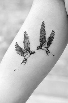 Bird Tattoos For Women, Tattoos For Women Half Sleeve, Sleeve Tattoos, Tattoos For Guys, Swallow Tattoo Design, Swallow Bird Tattoos, Two Birds Tattoo, Bird Tattoo Men, Bird Tattoo Wrist
