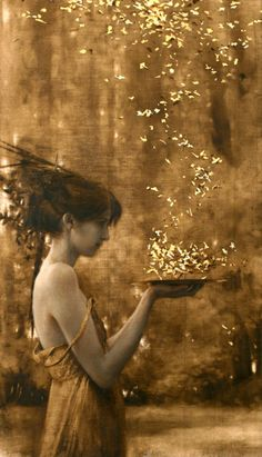 """Brad Kunkle, """"Two Suns,"""" Oil and Gold leaf on canvas, 21"""" x 12"""".  http://nighttattoo.tumblr.com/post/26439065817/arcadiagallery-brad-kunkle-two-suns-oil-and"""