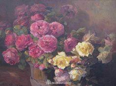 Franz Bischoff Paintings | Franz Bischoff - Red & Yellow Roses