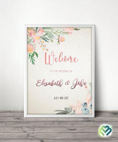 Floral Wedding Welcome Sign Printable Wedding Welcome Sign Boho Chic Wedding Reception Welcome Sign Spring Wedding  Romantic Wedding Sign by BMDigitalWorld on Etsy