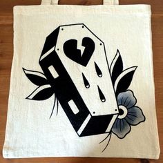 Original hand painted traditional tattoo style broken heart coffin 35cm x 35cm tote bag by Leasha Jacques by MissKittysCurios on Etsy https://www.etsy.com/uk/listing/293884843/original-hand-painted-traditional-tattoo