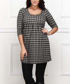 Look what I found on #zulily! Black & White Houndstooth Empire-Waist Dress - Plus by  #zulilyfinds