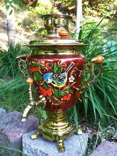 Antique Brass Russian Samovar.