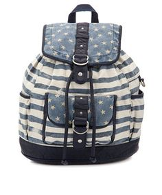 Blue Pattern (Blue) Teens Blue Stars and Stripes Backpack  | 267673249 | New Look
