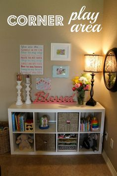 Kids room organization for books/toys - fab idea for keeping some toys and books in lounges and living rooms but tidy at the same time too. - Home Decor Diy Cheap Baby Play Areas, Kids Play Area, Living Room Storage, My Living Room, Ideas Habitaciones, Kids Room Organization, Metal Tree Wall Art, Toy Rooms, Kids Decor