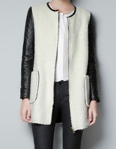 White Contrast Leather Cuff Coat...Just saw a girl rockin this in my office lobby an hour ago. Coincidence? I think not. Must have!