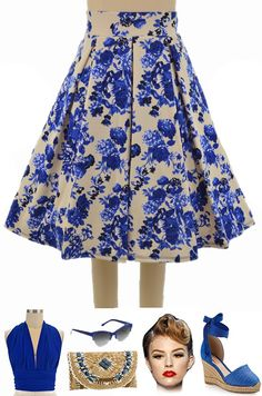 "2 New Prints available in our ""Pretty In Pleats Full Pinup Midi Skirt"" in regular sizes... Blue FLORAL & Red FLORAL! Also available in 7 other colors for only $30 each with FREE & FAST U.S. shipping.. all here at Le Bomb Shop: http://lebombshop.net/search?type=product&q=pretty+in+pleats&search-button.x=0&search-button.y=0"