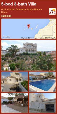 5-bed 3-bath Villa in Golf, Ciudad Quesada, Costa Blanca, Spain ►€599,000 #PropertyForSaleInSpain