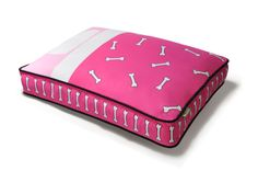 """Tuck Me In"" Rectangular Dog Bed in Hot Pink and Powder Pink. Machine washable and dryer friendly! Easy, comfortable, beautiful and eco-friendly! Available in two colors and three sizes."