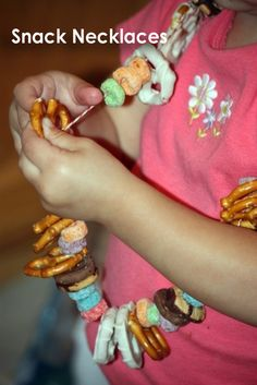 Be like little kids and make snack necklaces with our favorite treats before a movie