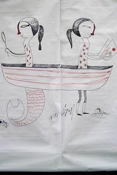 """Desenho """"Leitura"""", feito pelo ilustrador André Neves durante performance no Salão FNLIJ do Livro, no Rio de Janeiro (RJ)"""