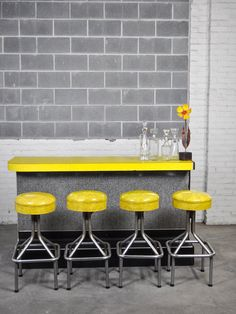 1950's Yellow Boomerang Formica Counter Top Bar With Four Vinyl Covered Stools