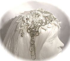 Rhinestone Bridal Headpiece Juliet Cap Wedding by Marcellefinery