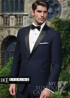 "<p style=""text-align: left;"">In recent years, one of the most emergent trends in men's formal wear has been the popularity of dark blue tuxedos and suits. To answer that growing need, Ike Behar Evening has developed some beautiful navy formal options!</p> <p style=""text-align: left;"">The Navy 'Blake' Tuxedo is a classy, attention grabbing navy formal favorite! Featuring a single button front, black satin peak lapels, black satin besom pockets, side vents, slim fit construction, and…"