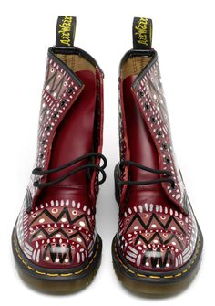 Burgundy red and black aztec pattern doc martens