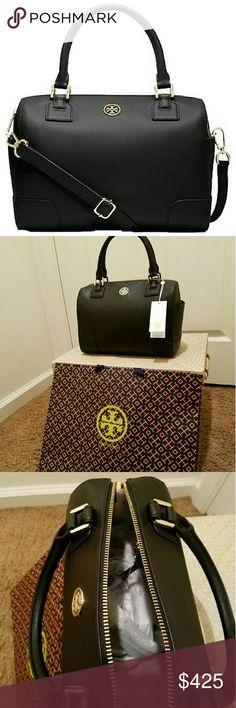 Tory Burch Robinson Satchel Saffiano leather/ black satchel Tory Burch Bags Satchels