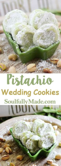 Pistachio Wedding Cookies are soft buttery cookies that are a little sweet a little salty and a whole lot of deliciousness. These melt-in-your-mouth good cookies just might have you reaching into that cookie jar often this Holiday Season. Buttery Cookies, Yummy Cookies, Owl Cookies, Cake Cookies, Holiday Baking, Christmas Baking, Christmas Holidays, Köstliche Desserts, Dessert Recipes