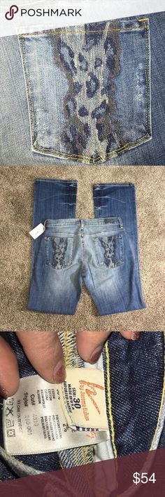 """Citizens of Humanity """"Kelly"""" animal print jeans NWT bootcut 34 inseam. Great with wedges! Berlin blue color. Citizens of Humanity Jeans Boot Cut"""