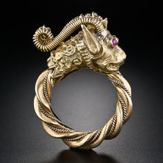 Fabulous Chinese Dragon Ring  A majestic mythical beast is masterfully and intricately rendered in weighty two-toned 18 karat gold, with cabochon ruby eyes in this fantastical handmade vintage bauble . A Chinese dragon from Greece!     Price: USD: 2,450.00