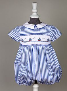 smocked sail boats boy's romper