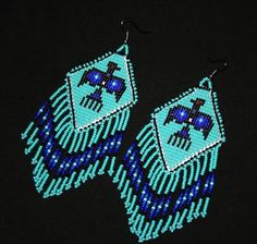 Turquoise Seed Bead Earrings Traditional by BiuluArtisanBoutique