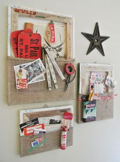 Upcycle new or used stretched canvases into wall pockets to organize mail, papers, stationery, notes, coupons and reminders, or just create funky wall art with flea market finds! MATERIALS  Stretched canvases new or used  Burlap or other fabric  Hot glue  Hanging hardware  Rubber date stamp (optional)  Embellishments (optional)