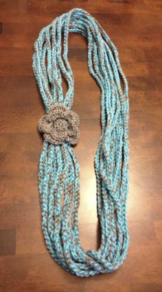Crochet Chain Scarf one turn in color Turquoise/Gray!!
