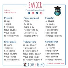 Learn French with A Cup of French! Easy and fun lessons with infographics and videos. You can enjoy your cup of French wherever you want and at your own pace. French Verbs, French Grammar, French Phrases, Spanish Grammar, French Language Lessons, French Language Learning, French Lessons, Dual Language, Spanish Lessons